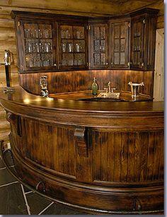 log homes with custom log bar by Colorado custom ...