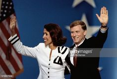 Vice President Dan Quayle and wife Marilyn wave to the crowd during the Republican National Convention . Dan Quayle, National Convention, Vice President, Crowd, Presidents, Wave, Movie Posters, Movies, Films
