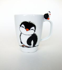 Penguin Mug Hand Painted Coffee Cup Cute Penguin by doodleNart