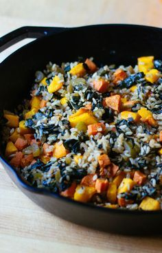 Roasted Pumpkin, Sweet Potato, and Brown Rice Pilaf -- This colorful side dish packed with vegetables is hearty enough to be your main course! // recipes // healthy recipes // fall recipes // lunches // dinners // vegetarian // vegetarian recipes // beachbody // beachbody blog