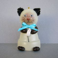 Siamese Kitty Flowerpot Bell Ornament by sanquicreations on Etsy, $8.99