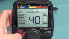 Makro Racer, metal detector mode settings which also include how to enable the flashlight and change the target ID from inches to centimetres. Metal Detecting, Red, Macros