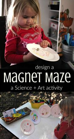 Design a magnet maze - a science + art project for kids, a great way to introduce STEM subjects in a creative way. (Also called STEM + Art or STEAM.)