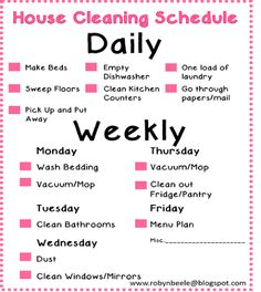 Living Simple- Daily Cleaning Schedule