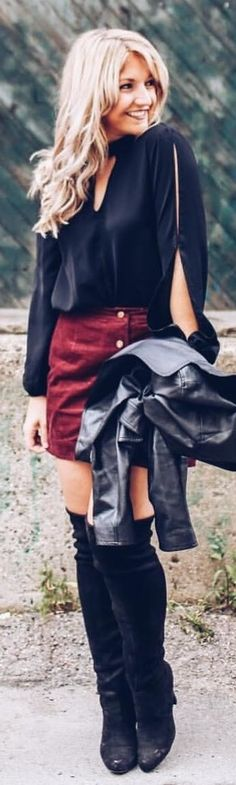 82c1a963948f  winter  outfits black long-sleeved shirt and maroon skirt Maroon Skirt