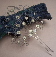 vintage hair combs | Vintage hair comb, silvertone filigree peacock tail hair accessory