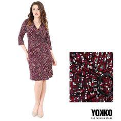 ARABESQUE | printed elastic jersey dress  YOKKO | fall16 #jersey #day #fall #red #black #white #women #fashion