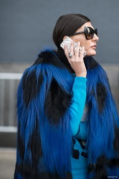 in for the close up on that blue shaggy fur number Gio. NYC. #GiovannaBattaglia