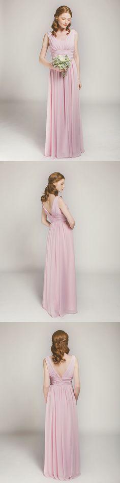 chiffon lavender blush long bridesmaid dresses with v back for spring summer weddings