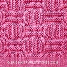 The double basket pattern is worked on straight knitting needles and created with knit and purl stitches. The pattern is reversible making it a good choice for scarves and shawls.