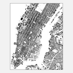 NYC Map 35x44x1.5 White workspace, maps, black and white. #InContrast