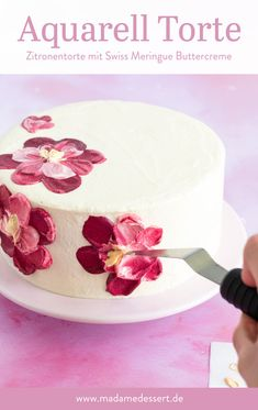 Anleitung Meringue, Desserts, Birthday Cake, Food, Buttercream Flowers, Watercolour, Advertising, Homemade, Pies
