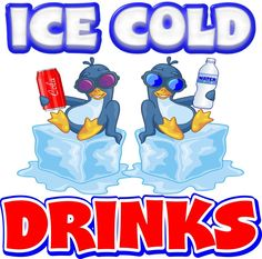 """Ice Cold Drinks Decal 14"""" Concession Restaurant Food Truck Vinyl Sticker #HarbourSigns"""