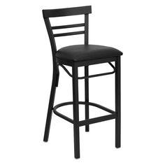 Flash Furniture 31 in. Hercules Metal Ladder Back Vinyl Seat Restaurant Bar Stool - Black Black - XU-DG6R9BLAD-BAR-BLKV-GG