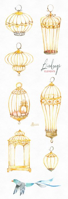 This set of separate watercolor Birdcages with birds and other elements Perfect graphic for wedding invitations, diy projects, wallarts, greeting cards, photos, posters, quotes and more. ----------------------------------------------------------------- INSTANT DOWNLOAD Once payment is cleared, you can download your files directly from your Etsy account. ----------------------------------------------------------------- This listing includes 34 images: 7 x Birdcages 4 x Birds 23 x Differe...