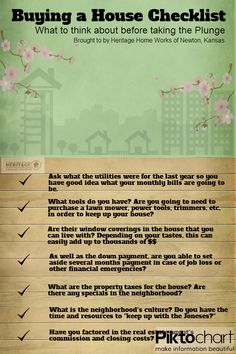 Buying a house Checklist ... handy! #1sttimehomebuyers #buyingahome http://www.usawaterviews.com
