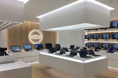 Beautiful shop interior design or 041 dell laptop experience store for shopping mall 74 mobile shop Showroom Design, Shop Interior Design, Retail Design, Store Design, Electronics Projects, Electronics Storage, Hobby Electronics, Electronics Components, Electronic Shop