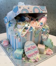 Baby gender reveal cake...pink and blue on outside with the inside revealing blue or pink!