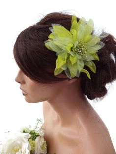 Green Chiffon Crystal Flower Hair Clip Fascinator Corsage Races Prom Bridal