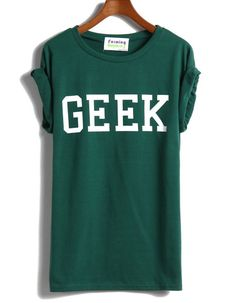 Green Short Sleeve GEEK Print T-shirt - Sheinside.com