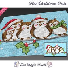Looking for your next project? You're going to love Five Christmas Owls C2C…