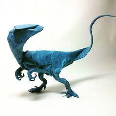 Fabulous paper sculpture velociraptor