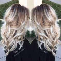 Brunette roots with platinum blonde balayage highlights