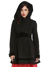 Black coat with black velvet bands, cuffs, buttons and trim, fluffy lined hood with faux fur trim and two front pockets. Vegan Fashion, Dark Fashion, Cape Coat, Gothic Outfits, Types Of Fashion Styles, Casual Outfits, Casual Clothes, Vintage Fashion, Vintage Style