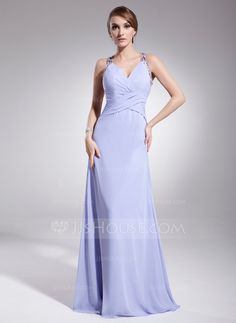 Evening Dresses - $138.99 - A-Line/Princess V-neck Floor-Length Chiffon Evening Dress With Ruffle Beading (017014573) http://jjshouse.com/A-Line-Princess-V-Neck-Floor-Length-Chiffon-Evening-Dress-With-Ruffle-Beading-017014573-g14573