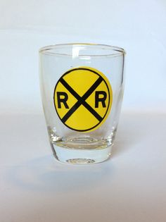 Railroad Crossing / Merging Traffic Shot Glass by ThoughtfulVintage on Etsy