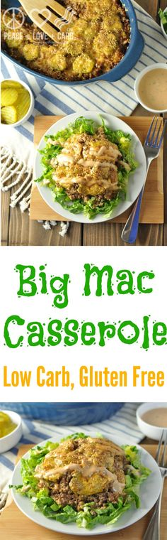 Big Mac Casserole Low Carb Gluten Free Peace Love and Low Carb via PeaceLoveLoCarb Keto Foods, Ketogenic Recipes, Low Carb Recipes, Cooking Recipes, Healthy Recipes, Paleo Diet, Drink Recipes, Healthy Meals, Healthy Food