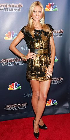 HEIDI KLUM America's Got Talent, and Heidi has a seemingly endless supply of sexy metallic minidresses – she pairs this Zadig & Voltaire one with oversize gold earrings, a wristful of bangles and black pumps at an event for her show in N.Y.C.