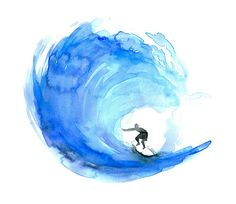 Watercolor surfer. Someday I will learn to surf! After I learn to swim