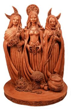 This deeply symbolic Triple Goddess Pagan Statuary truly depicts the cycles of life, nature and the basis of the seasons. The Triple Goddess represents the divine feminine's connection to the cycles o
