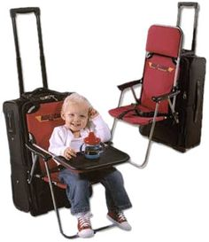 Now I NEED THIS ONE! lol  The Ride On Carry On Ride on Carry on Lets Your Kids Ride on Your Luggage lets you avoid all these problems by strapping a chair onto your luggage that your kids can ride along on.