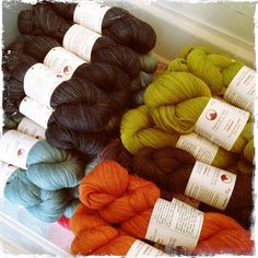 Alpenglow yarns waiting for Stitches West