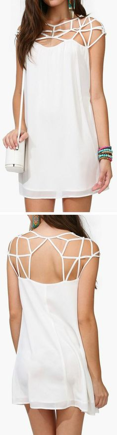 Strappy Cage Dress // this would actually look really cool i think with an undershirt/skirt