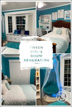 DIY renovation of a tween girls room. New paint, flooring, windows, baseboards , crown molding and trim! Beautiful teal paint and decorations. Amazing room transformation.