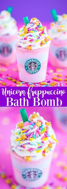 DIY Unicorn Frappuccino Bath Bomb – how to make Starbucks Unicorn Frappuccino inspired bath bombs with layers of pink, purple and blue. Then topped with icing, sprinkles and a classic green straw.