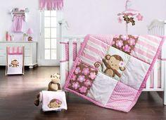 Sweet Monkey 4pc Bedding Set 367376492 | Baby Girl Bedding Sets | Baby Girl Bedding | Nursery Room Decor | Baby | Burlington Coat Factory