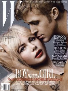 Michelle Williams & Ryan Gosling W cover, Oct. 2010 Dark lashes and a softer warm red lip.