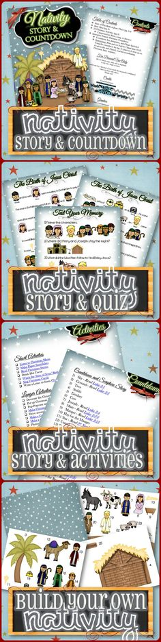 "Countdown to Christmas advent with the Nativity Story! Interactive story, quiz, Christmas activity ideas categorized by time and service, links to tutorials and freebies, and ""build your own"" Nativity countdown with coordinating scriptures! Make your Christmas meaningful and Christ-centered. Choose the digital file or have it printed on laminate, flannel, or magnets. Happy Holidays!"