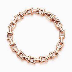 Pulseira corrente Tiffany T em ouro rosa 18k, média.