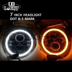 On sale US $88.89  CO LIGHT 7 Inch Led Headlight H4 H13 Round Shape 7'' Headlights with Yellow & White Angel Eye for Offroad Jeep Wrangler Lada 4x4