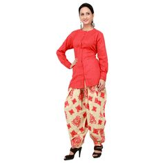 """$148 Red cotton kurti is with embroidered patiyala.Long sleeves are attached to this suit.This suit is designed by Seema Oberoi. Length-28"""""""