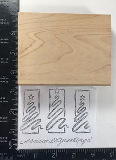 Christmas Rubber Stamp Season Greetings Pine Trees Holiday Sentiments 076 #Unbranded