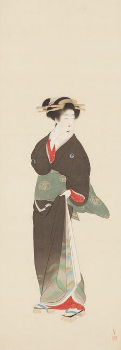 Japan, hanging scroll by Shoen Uemura, 美人之図, Hikaru Museum Japanese Ink Painting, Japanese Drawings, Japan Painting, Japanese Artwork, Japanese Prints, Japanese Woodcut, Geisha Art, Japan Tattoo, Bonsai Art