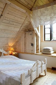 Romantic wooden cottage – Adorable Home Wooden Cottage, Rustic Cottage, Attic Rooms, Attic Spaces, Romantic Cottage, Cabins And Cottages, Design Case, Interior Exterior, Cottage Homes