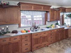 Rustic Kitchen Cabinets Pictures and Inspiration - ThefischerHouse Menards Kitchen Cabinets, Vintage Kitchen Cabinets, Kitchen Cabinets Pictures, Kitchen Cabinet Styles, Kitchen Cabinetry, Filing Cabinets, Oak Cabinets, Farmhouse Cabinets, Mission Style Kitchens