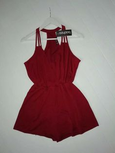 2249ede2e1c BNWT BOOHOO ALENA STRAPPY WRAPOVER BERRY PLAYSUIT SIZE 10  fashion  clothing   shoes